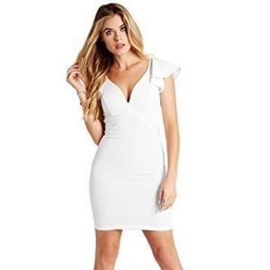 GUESS Ruffled Ottoman Plunge Bodycon Ivory Dress